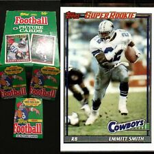 Lot of 1991 Topps Football (3) Packs 🔥 Possible Emmitt Smith Super Rookie 🔥