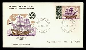 DR WHO 1971 MALI FDC MAY FLOWER SHIP CACHET  g18498