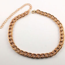 Ladies Gold Plated Fashion Statement Curb Choker Necklace - Anklet -New UK 158