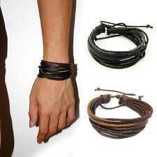 Tribal Men's Women Jewellery Surfer Wrap Multilayer Leather Cuff Bracelet Bangle
