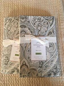 Set/2 Pottery Barn MacKenna Paisley King Shams Gorgeous!! Gray