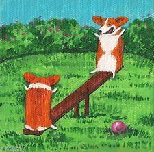 4x4 Print Of Painting Pembroke Welsh Corgi Folk Art Summer Whimsical Dog Ryta