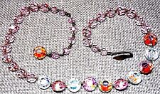 VINTAGE GORGEOUS LIGHT PINK FACETED CRYSTAL NECKLACE WITH UNIQUE CLOSURE