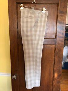 Adidas Golf Size 32 Men's Pants 32 .5 inseam Tan Plaid-Excellent!!