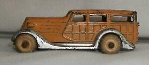 Vintage Woody Station Wagon Toy Car Made in USA Slush Lead Barclay