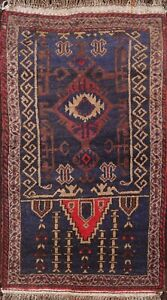Vintage Tribal Geometric Balouch Afghan Oriental Area Rug Hand-knotted Wool 2x4
