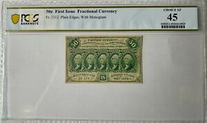 Fr. 1312 First Issue 50¢ Fractional Currency PCGS Choice XF45 Plain Edges, Monog