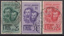 ITALIA (Repubblica): 1944 CENTENARIO MORTE DI ATTILIO & Bandiera Set SG 117-119 USATO