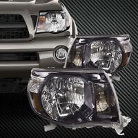 Headlights Black Housing Set Pair Fits Toyota 2005-2011 Tacoma Sport