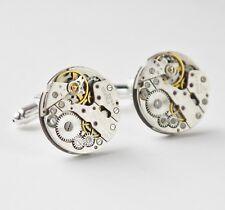 round vintage watch mechanism cufflinks 20mm silver