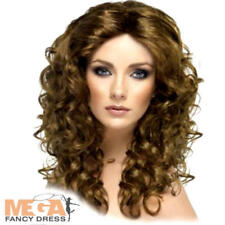 Brown Long Curly Galmour Beauty Wig Adult Womens Fancy Dress Costume Accessory