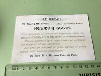 McCarty & Hasberg Importers  Victorian American Advertising Trade Card Ref 49441