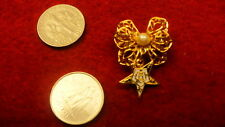 "Eastern Star pin filigree bow enamel star OES brooch   NEW 1"""