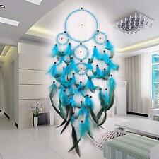 Handmade Car Blue Dream Catcher Circular With feather Wall Hanging Decor Gift HH