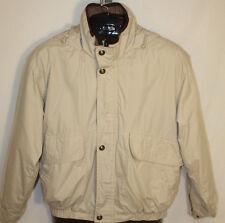 London Fog Mens Beige Tan Quilt Lined Hooded Zip Front Winter Jacket Coat Size S