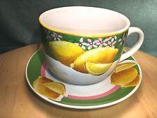 GGI ~ Spring Time Beautiful Lemon Design Large Cup & Saucer *Mint!