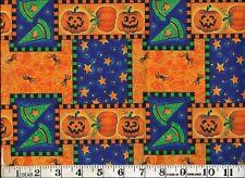 HALLOWEEN, PUMPKINS AND SPIDERS, ORANGE 100% Cotton Fabric, 1/2 yard