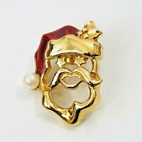 Santa Claus Brooch Pearl Enamel Hat Gold Tone Tie Tack Pin