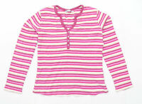 M&Co Womens Size S Striped Cotton Blend Multi-Coloured Top (Regular)
