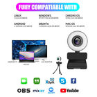 Web Camera Full HD USB Webcam w/Ring Light+Mic for Video Calling Conferencing
