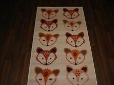 TOP QUALITY NOVELTY 80X150CM APROX 5X3FT WOVEN RUG/MAT FOX FACE CREAM/TERRA