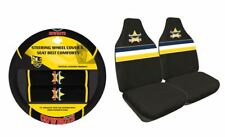 SET OF 2 NTH QUEENSLAND COWBOYS NRL FRONT CAR SEAT COVERS + STEERING WHEEL COVER