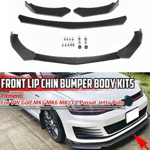 Black Front Bumper Chin Protector Lip Body Spoiler Splitter For VW FOR Audi A4