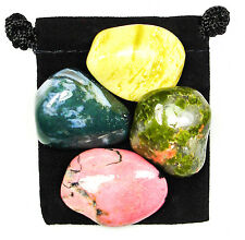 EMOTIONAL BALANCE  Tumbled Crystal Healing Set = 4 Stones + Pouch + Card