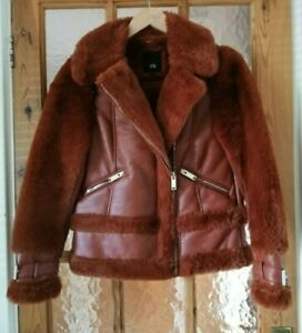 """RIVER ISLAND Faux Leather & Fur Biker Flying Jacket Size 6 -  Chest 34"""""""