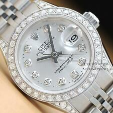 ROLEX LADIES SILVER DIAMOND DIAL BEZEL & LUGS DATEJUST 18K WHITE GOLD/SS WATCH
