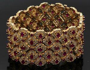 Heavy 14K yellow gold 25.0CT diamond & ruby cluster 34.8mm wide bracelet