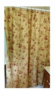 WAVERLY HOME SONATA  HARBOR Cottage Roses Fabric shower curtain Red & Beige