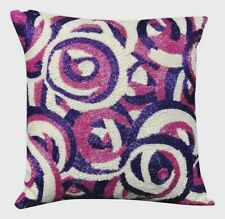"VINTAGE 80's BEADED EMBROIDERED PINK PURPLE  ABSTRACT PILLOW 11"" X 11"""