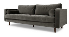 Made.com Scott 3 Seater Sofa Concrete Cotton Velvet 999