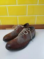 Clarks Collection Mens Brown Leather & Textile Brogues UK 7/ 41 Lace Up Two Tone