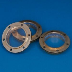 Model boat 6 hole Flanged brass porthole with glazing 6mm diameter pack of 10