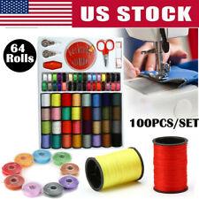 64 Rolls Line Thread Spool Set Bobbin Needle Cotton Reel Tape for Sewing Machine
