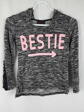 Miss Chievous Girl's M Gray Pink Rayon Blend Long Sleeve Hooded Pullover Shirt