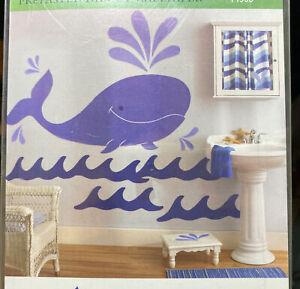 Wallies Blue Whale Wall Mural Wallpaper - Sea Life Jonah Nursery Bathroom Decor
