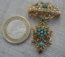 Originale SPILLA ANTICA oro giallo 18 kt. 750/1000 turchesi e brillantino