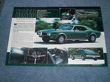 "1968 Pontiac Firebird Ram Air II Article ""Speed Demon"""