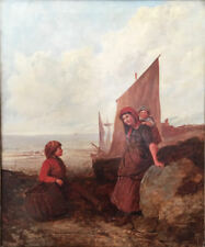 """Alfred H. Green (British, active 1844-62) Original Oil: """"The Fisherman's Family"""""""