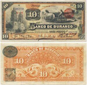 1914 Banknote 💲 Banco del Durango MEXICO 10 Pesos CRISP!