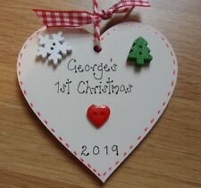 Personalised Baby's First 1st Christmas Bauble Heart Tree Decoration