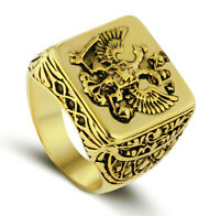 Solid Brass Antique Vintage Style 18k Gold Plated Men's Engraved Eagle Ring M35