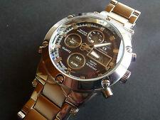 Chronograph, Alarm, Stoppuhr, Zeitzonen, Timer, 2 Quarzwerke, Licht,  Edelstahl