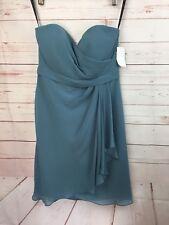 JENNY YOO Size 2 Chiffon Bridesmaid Dress Muted Green Strapless Ruffle NWT $250