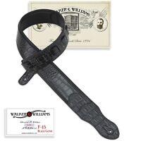 Walker & Williams F-15 Black Gator Guitar Strap PaddedGlove Leather Back