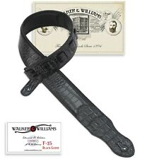 Walker & Williams F-15 Black Gator Guitar Strap Padded Glove Leather Back