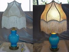 "FENTON GLASS""VINTAGE""SRC-60s""PLATED""BLUE OPAQUE""BOUDOIR LAMP+CUSTOM""DAMASK""SHADE"